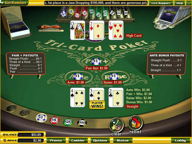 Winning hands 3 card poker